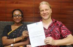 Dean of the Faculty of Science, Technology and Environment, Dr Anjeela Jokhan and Head of School of Computing, Information and Mathematical Sciences, Professor Ansgar Fehnker with the letter of accreditation from the Australian Computer Society.
